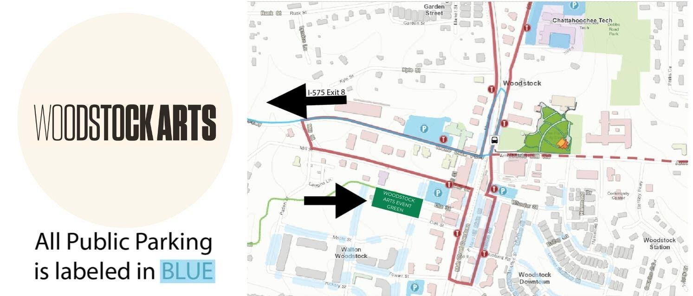 Woodstock Arts Parking Map - Event Green
